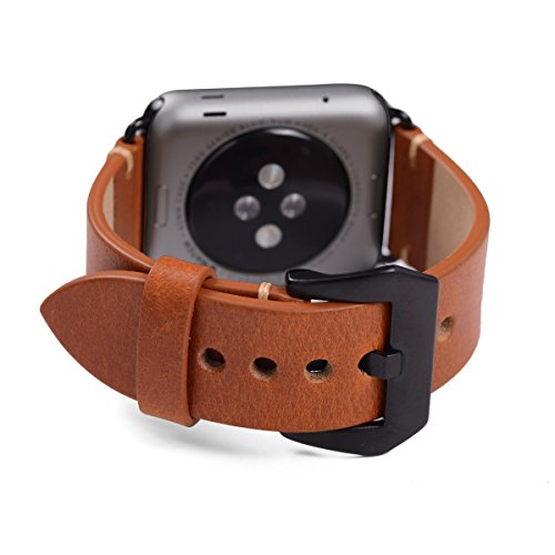 Apple Watch Band ,Vintage Vegetable Tanned Leather Watch Band For I Watch 42mm With Black Adaptor Light Brown 1