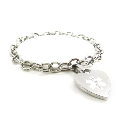 Myiddr - Womens Dialysis Bracelet Medical Charm Steel, Pre-Engraved White: Wrist Size 4.5""