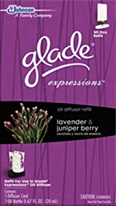 Glade Expressions Oil Diffuser Refill, Lavender and Juniper Berry, 0.67 Ounce (Pack of 2)
