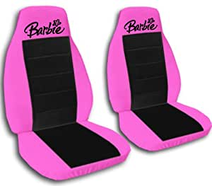 Amazon Com 2 Hot Pink And Black Quot Barbie Quot Car Seat Covers