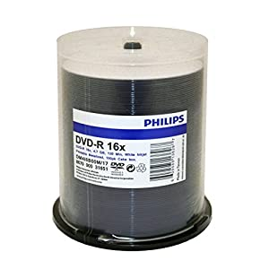 [EOL] Philips Duplication Grade White Inkjet Hub Printable 16X DVD-R Media 100 Pack in Cake Box