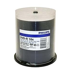 Philips Duplication Grade White Inkjet Hub Printable 16X DVD-R Media 100 Pack in Cake Box (DM4I6B00M/17)