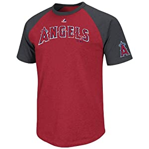 MLB Majestic Los Angeles Angels of Anaheim Big Leaguer Fashion T-Shirt - Red Charcoal by Majestic