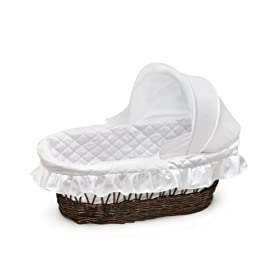 Badger Basket Moses Basket With Hood And Bedding, Cherry Wicker: Baby