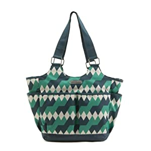 timi & leslie Tag-A-Long Tote Diaper Bag, Emerald Lagoon