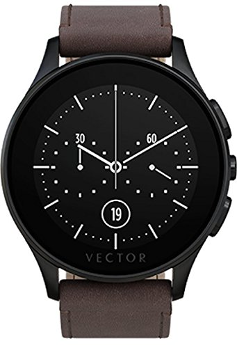 Vector Watch Smartwatch with 30 Day Battery Life - Luna-Brushed Black/Dark Brown Leather