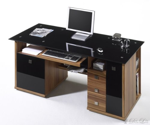 computertische am besten computertisch scrito 160 70 walnuss schwarz schreibtisch mit glas. Black Bedroom Furniture Sets. Home Design Ideas