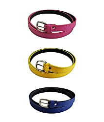 Verceys Pink, Yellow And Blue Non Leather Casual Belt For Women - Combo Of 3
