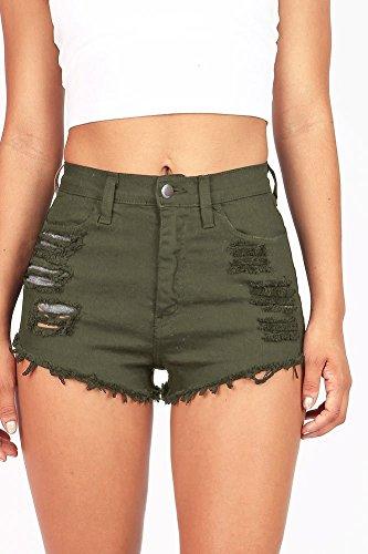 Vibrant Women's Juniors Denim High Waist Cutoff Shorts Olive L Wash Denim Cut Off Shorts