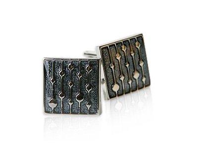 Artsy Gray Enamel Square Silver Cufflinks by Cuff-Daddy