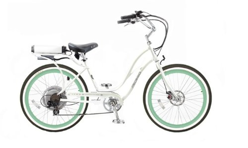 Pedego Step-Through Cruiser White with Mint Green Rims