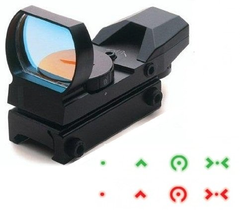 Ultimate Arms Gear Tactical Dual Red / Green Illuminated Cqb Extreme Ops Edition 4 Reticle Open Reflex Scope Sight With Weaver-Picatinny Rail Mount