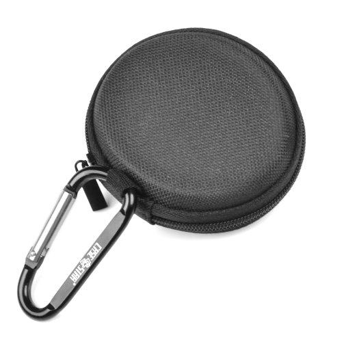 Case Star ® Black Earphone Handsfree Headset Hard Eva Case - Clamshell/Mesh Style With Zipper Enclosure, Inner Pocket, And Durable Exterior + Black Small Climbing Carabiner With Case Star Velvet Bag (Eva Earphone Case (Flat) - Black)