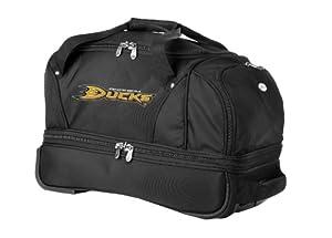 NHL Anaheim Ducks Denco 22-Inch Drop Bottom Rolling Duffel Luggage, Black