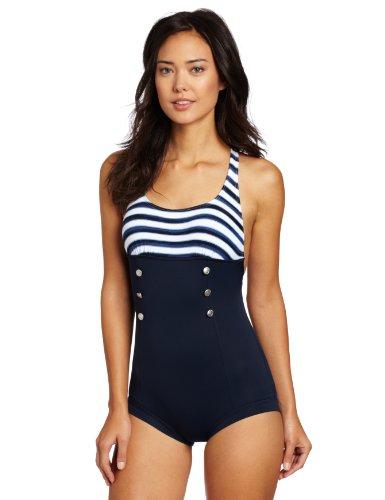 16b9e22d94 Maillot De Bain Femme Seaview Retro Une Pièce Shorty Taille M Couleur Bleu