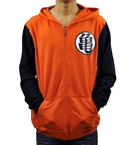 Cosplayhome Dragonball Z Goku Kame Symbol Orange Zip Hoodie (L)