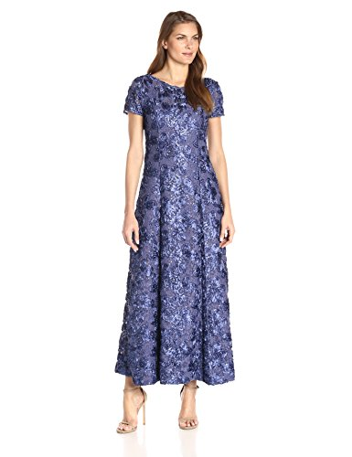 Alex Evenings Women's Long A-Line Rosette Dress