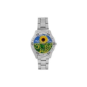 Men's or Boys' Design Beayuty Field Of Sunflower Stainless-Steel Analog Watch Photo Watch Sliver Metal Case