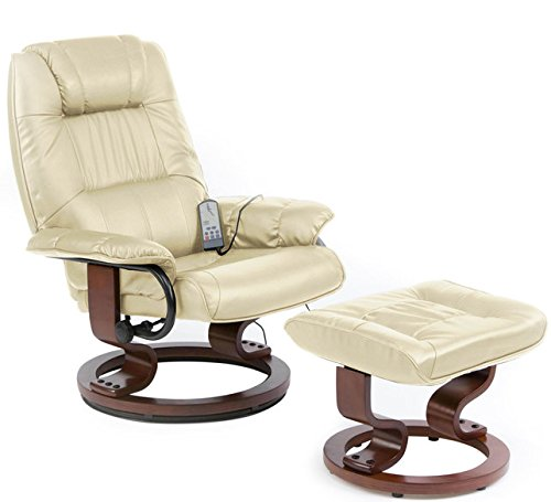 Restwell napoli swivel recliner cream leather effect massage chair with round base footstool