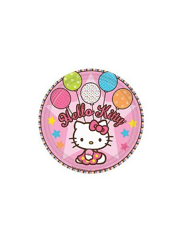 Amscan Unisex Adult Hello Kitty Balloon Dreams Dessert Plates Black Medium