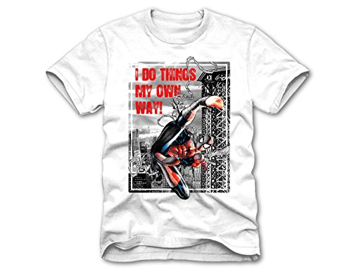 Superhero Marvel T- Shirts for Boys (Large (10/12), Spiderman I Do Things, White)
