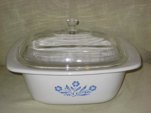 Vintage Large Corning Cornflower Blue Glass 4 Quart Dutch Oven w/ Lid - Made In USA P-34-B
