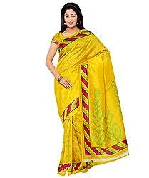 Needle Impression Yellow Bhagalpuri Silk Saree (WS47_YELLOW)