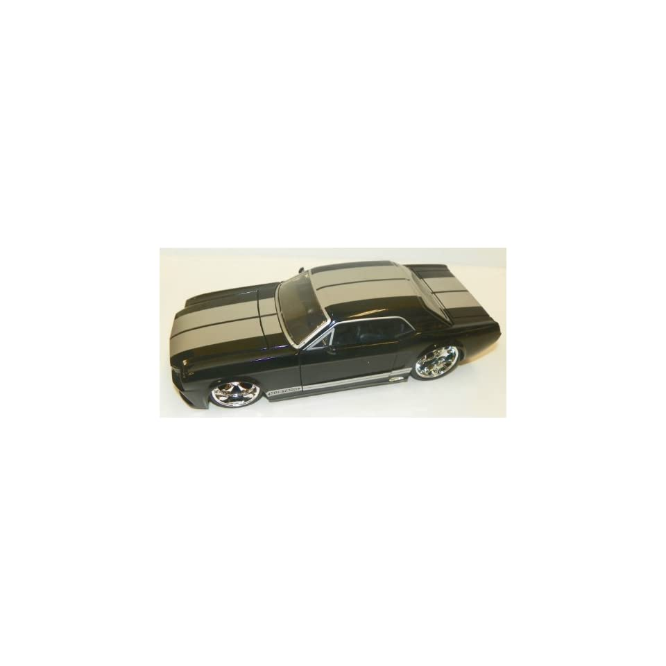 Jada Toys 1/24 Scale Diecast Big Time Muscle 1965 Ford Mustang Gt in Color Black with Silver Stripes