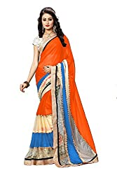 Morpankh enterprise Orange Lycra Saree ( sh orenge saree )