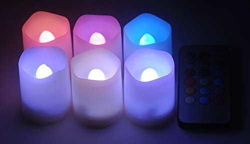 Minetom 6 Indoor And Outdoor Color Changing Votive Candles With Remote Control & Timer-Led Color Changing Candle Light(Battery Included)