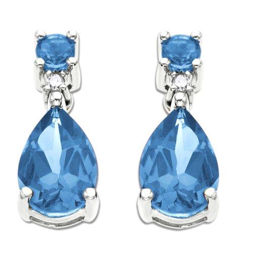 10k White Gold Blue Topaz Pear Shaped Earrings w/ Diamond Accent