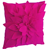 Saras Garden Petal Decorative Throw Pillow. 17 Inch Square.