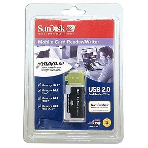 SanDisk SDDR-107-A10M MobileMate MS+ USB 2.0 Mobile Card Reader/Writer Support Sandisk 1GB 2GB 4GB 8GB 16GB # Memory Stick # Memory Stick Duo # Memory Stick PRO # Memory Stick PRO Duo