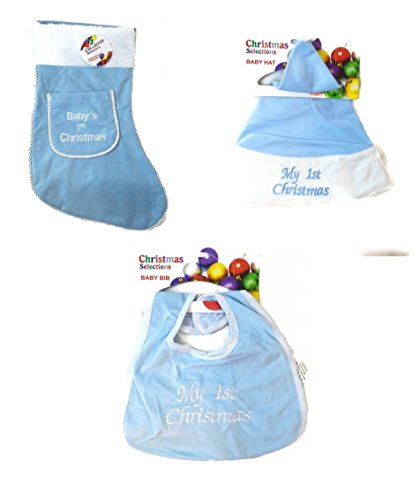 Baby'S First Christmas Stocking With Baby Hat & Bib (Boy)