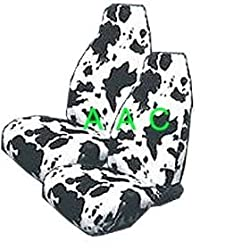 Set of 2 Universal-fit Animal Print Front Bucket Seat Cover - Cow