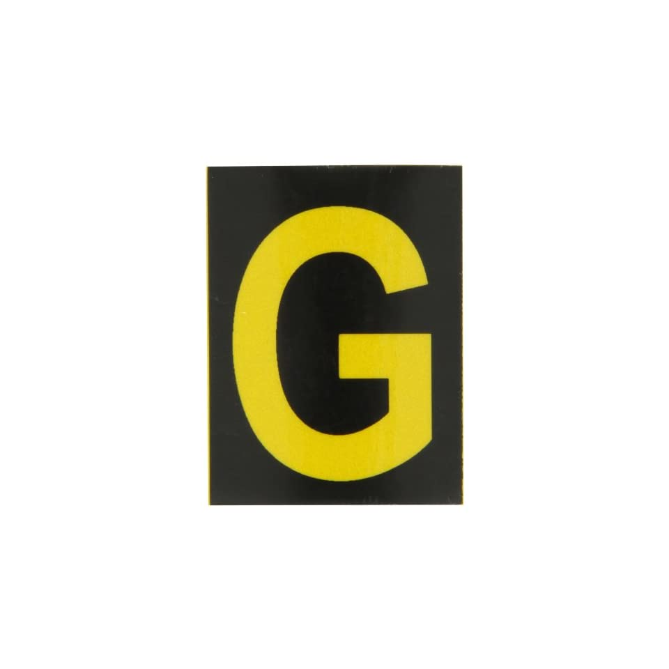 Brady 5890 G Bradylite 1 7/8 Height, 1 3/8 Width, B 997 Engineering Grade Bradylite Reflective Sheeting, Yellow On Black Reflective Letter, Legend G (Pack Of 25)