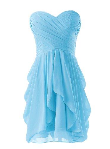 Dressystar Short Strapless chiffon party dress evening dress Blue 8