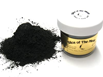 Dark Black Mica Powder 1oz- Black Metallic Powder - Pearl Pigment Powder
