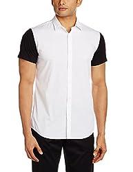 Adamo London Men's Casual Shirt (SHTADSP16004_Large_White and Black)