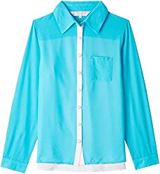 PrettySecrets Women's Shirt (32797_Aqua and Ivory_Medium)