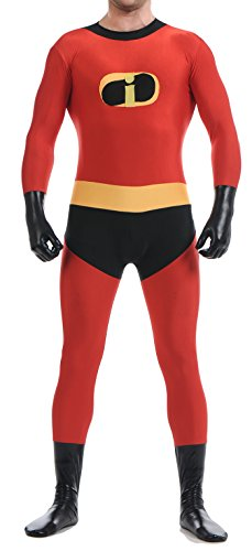 Seeksmile Unisex Dash Incredibles Superhero Bodysuit For Halloween (Kids Large, Red)