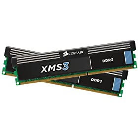Corsair 8 GB XMS3 PC3-12800 1600MHz 240-Pin DDR3 Dual Channel Memory 8 Dual Channel Kit - CMX8GX3M2B1600C9