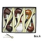 Smoking pipe, set of 6pcs, smoking pipe gift box, smoking pipe of steel & acrylic, tobacco pipe (Box A) (Tamaño: Box A)