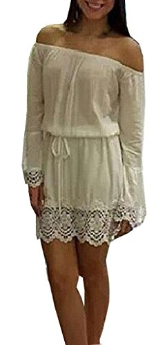 Lovaru Women'S White Off Shoulder Lace And Chiffon Dress