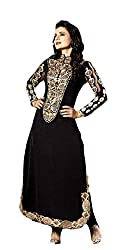 Rajnandini women's jacquard embroided semi stiched salwar suit with stone work ( Free size _black)