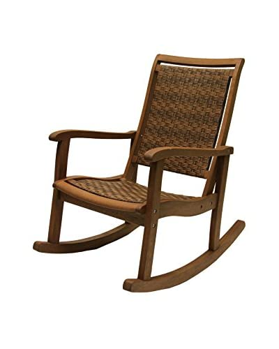 Outdoor Interiors Eucalyptus & Wicker Rocking Chair, Brown