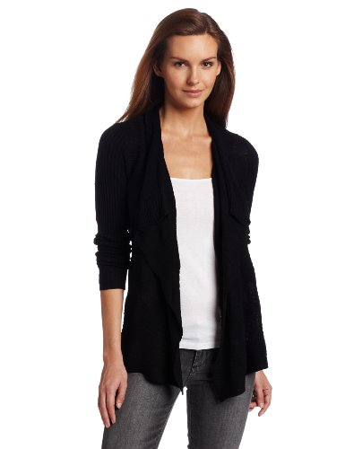 Calvin Klein Women's Novelty Stitch Cardigan, Black, Medium