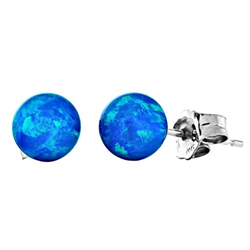 Oceans: 6mm Tropical Blue Created Opal Ball Stud Post Earrings, Solid 925 Sterling Silver
