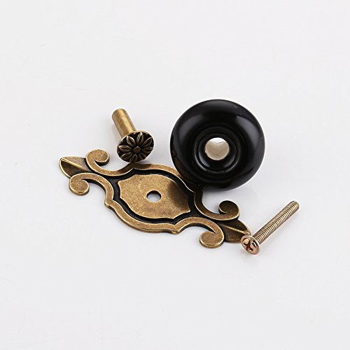 Kitchen Cabinet Handles With Backplates: KES Vintage Ceramic Kitchen Bath Cabinet Round Knobs With
