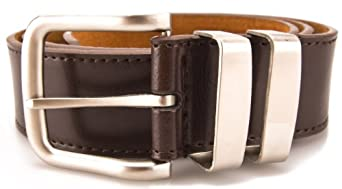 """Mens Leather Belt - Smart / Casual Jeans Belt With Double Chrome Buckle # 5056 (3XL (48"""" - 52""""), Brown)"""